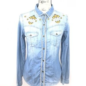 Staring at Stars Long Sleeve Denim Button Down XS